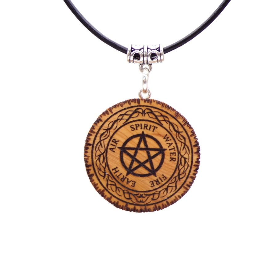 Pentagram 5 Elements Pendant Necklace in English Yew wood