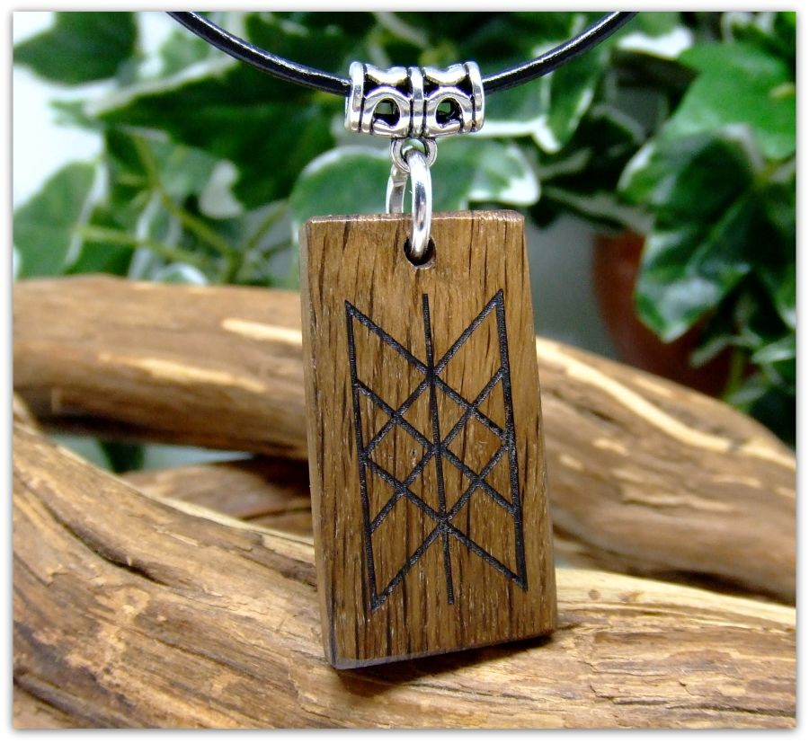 The Web of Wyrd (Skuld's Net) Pendant Necklace handcrafted from 5000 year old Irish Bog Oak Wood