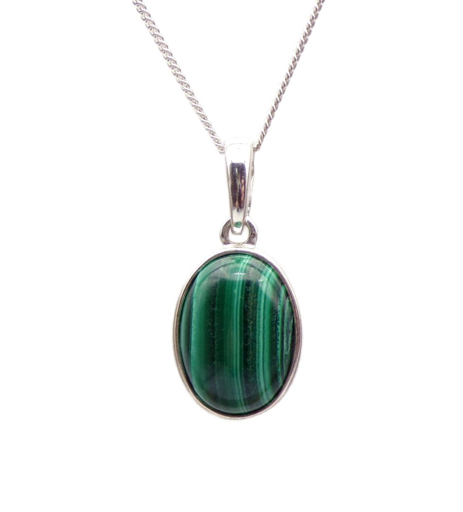 Malachite Silver Pendant Necklace Oval design in .925 silver 18