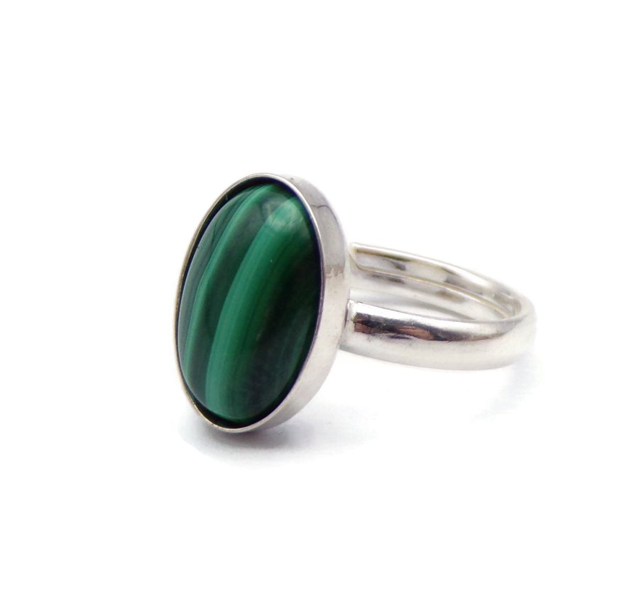 Malachite Gemstone set in an Oval Sterling Silver Ring 925 adjustable ring
