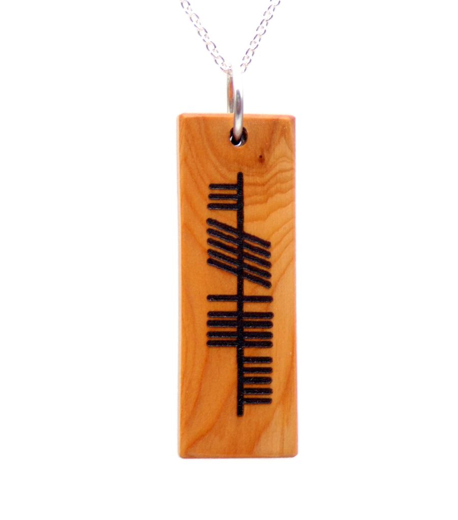 Ogham Neart Strength Rectangular Pendant Necklace in English Yew Wood