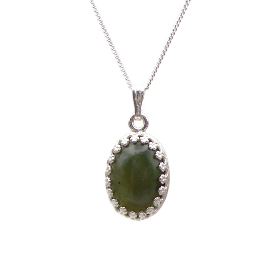 Green Jade Silver decorative Pendant Necklace Oval design in Sterling silver
