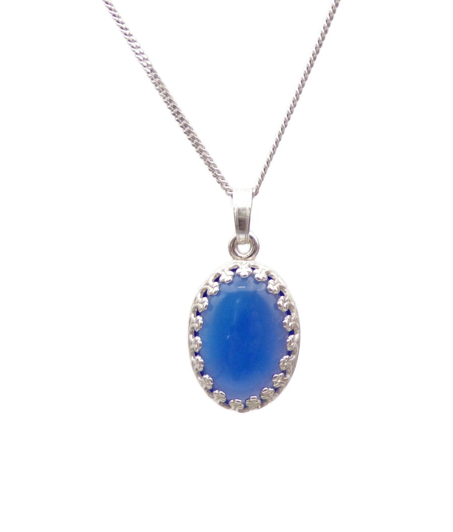 Blue Onyx Silver decorative Pendant Necklace Oval design in Sterling silver 18