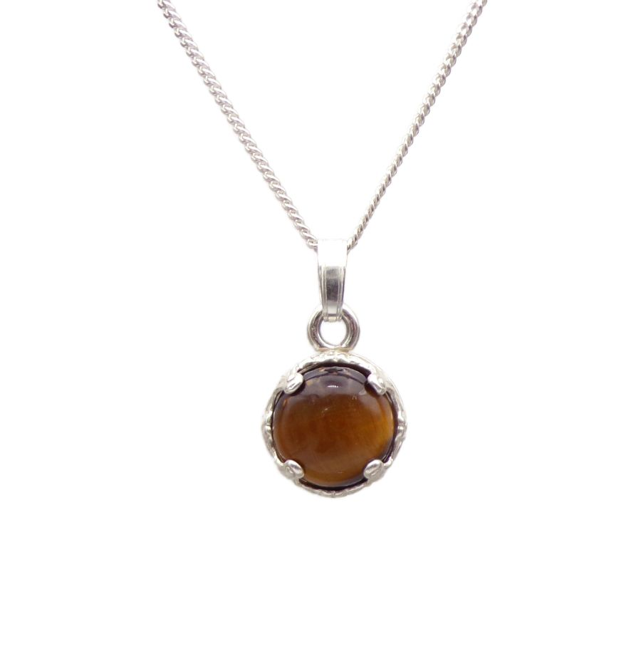 Tigers Eye Silver round decorative Pendant Necklace in Sterling silver