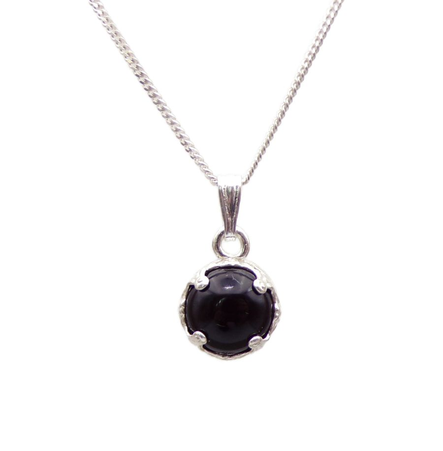 Black Onyx Silver round decorative Pendant Necklace in Sterling silver
