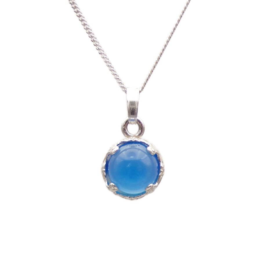Blue Onyx Silver round decorative Pendant Necklace in Sterling silver
