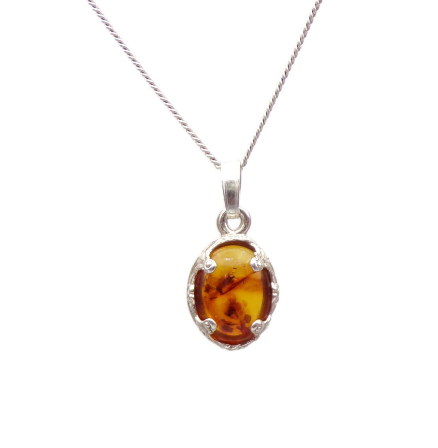 Amber Silver decorative Pendant Necklace Oval design