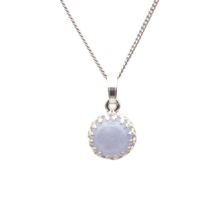 Blue Lace Agate Silver round gallery decorative Pendant