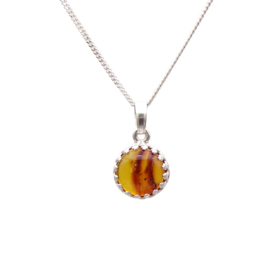 Amber Silver round gallery decorative Pendant