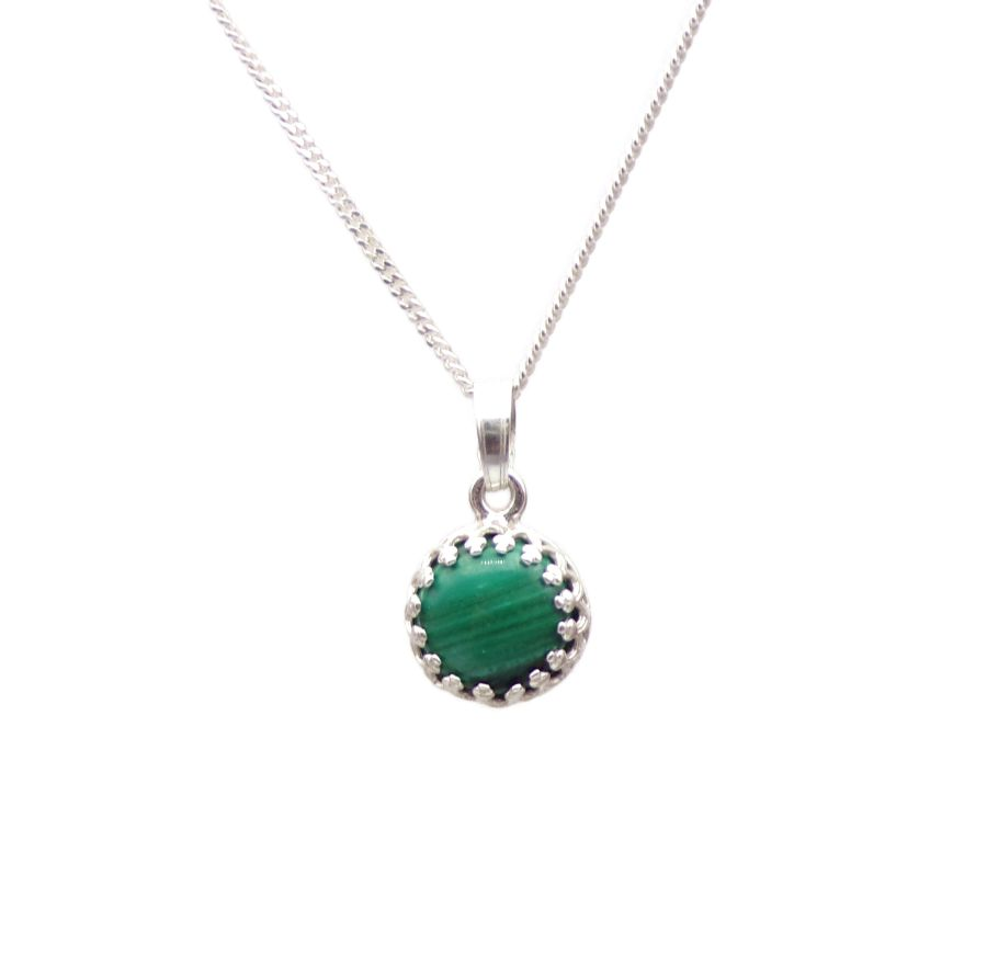 Malachite Silver round gallery decorative Pendant Necklace