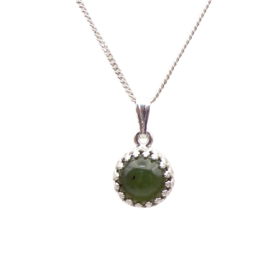Jade Silver round gallery decorative Pendant Necklace in Sterling silver