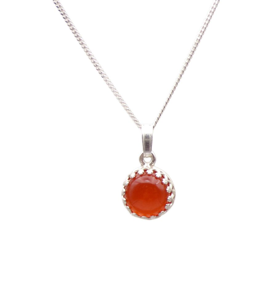 Carnelian Silver round gallery decorative Pendant Necklace