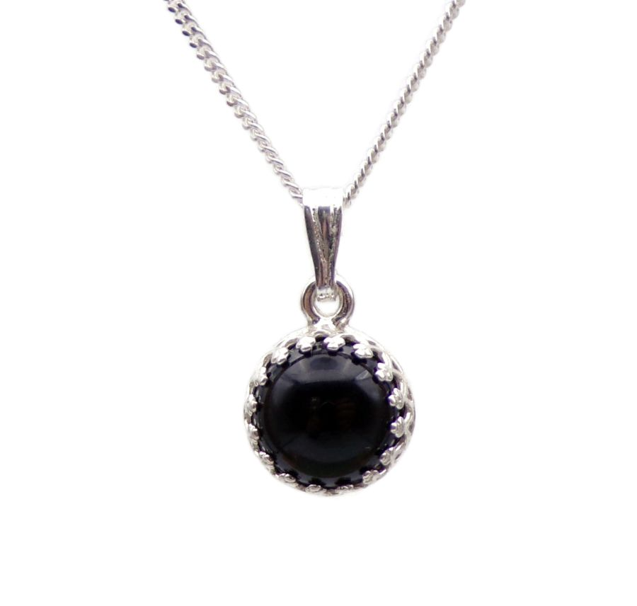 Black Onyx Silver round gallery decorative Pendant Necklace