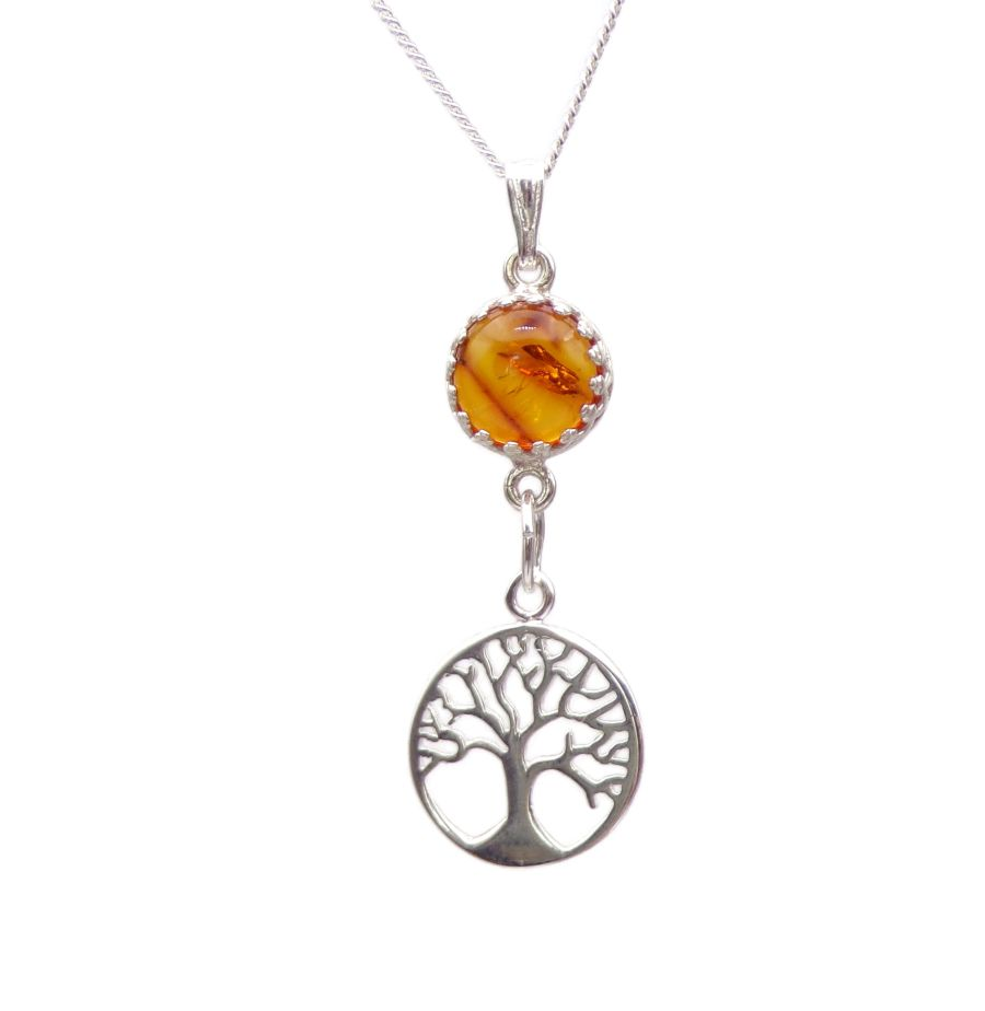 Amber Silver Tree of Life decorative Pendant Necklace in Sterling silver