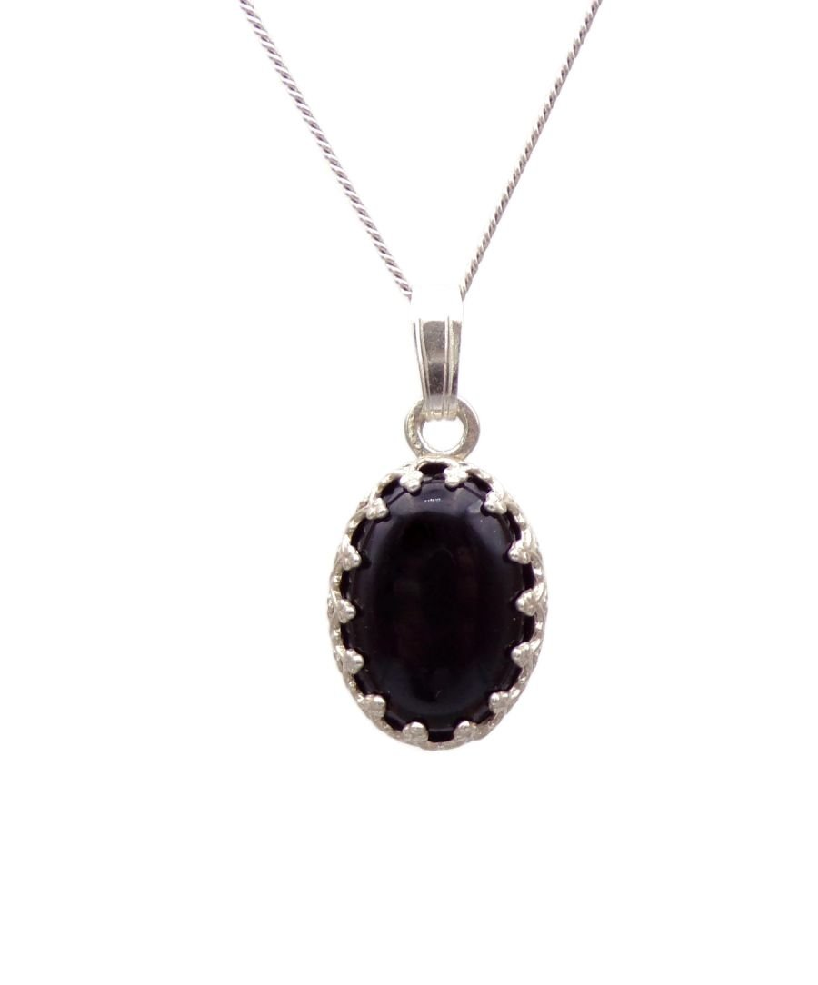 Black Onyx Silver decorative Pendant Necklace Oval design in Sterling silver