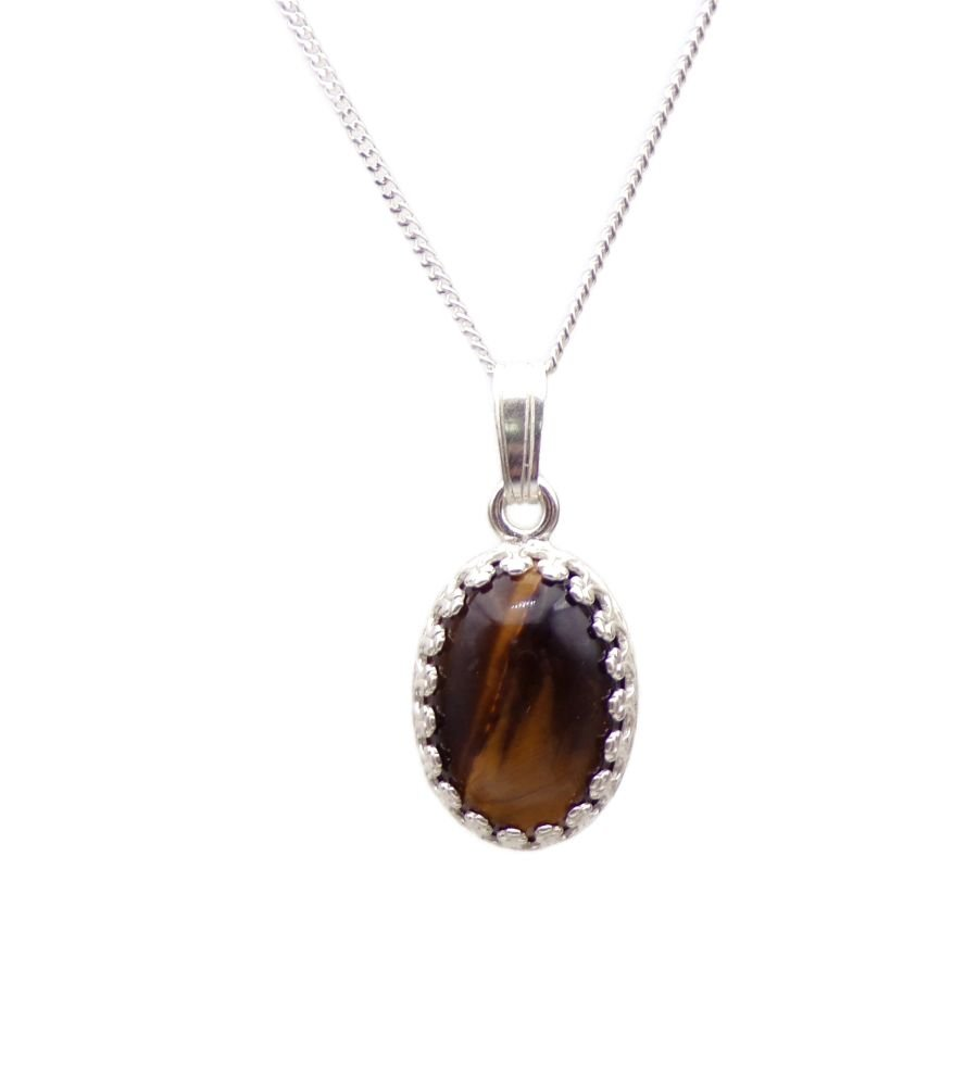 Tigers Eye Silver decorative Pendant Necklace Oval design in Sterling silver