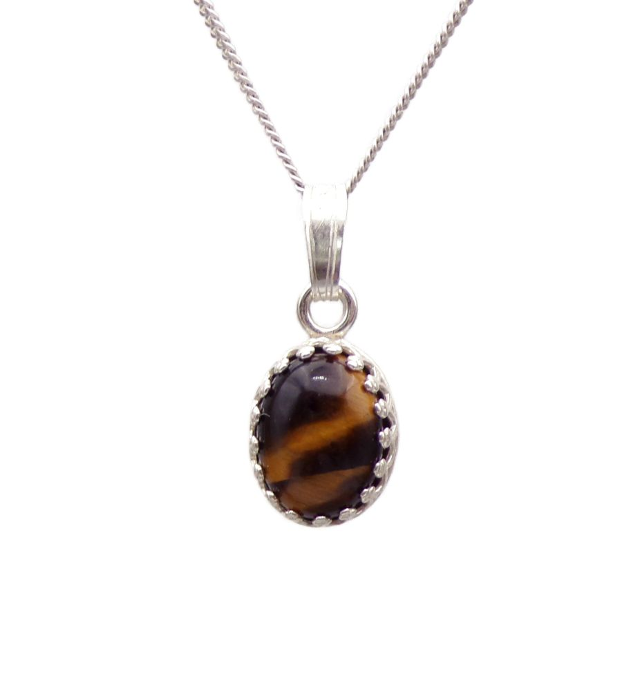 Tigers Eye gallery decorative Pendant Necklace Oval design in Sterling silver