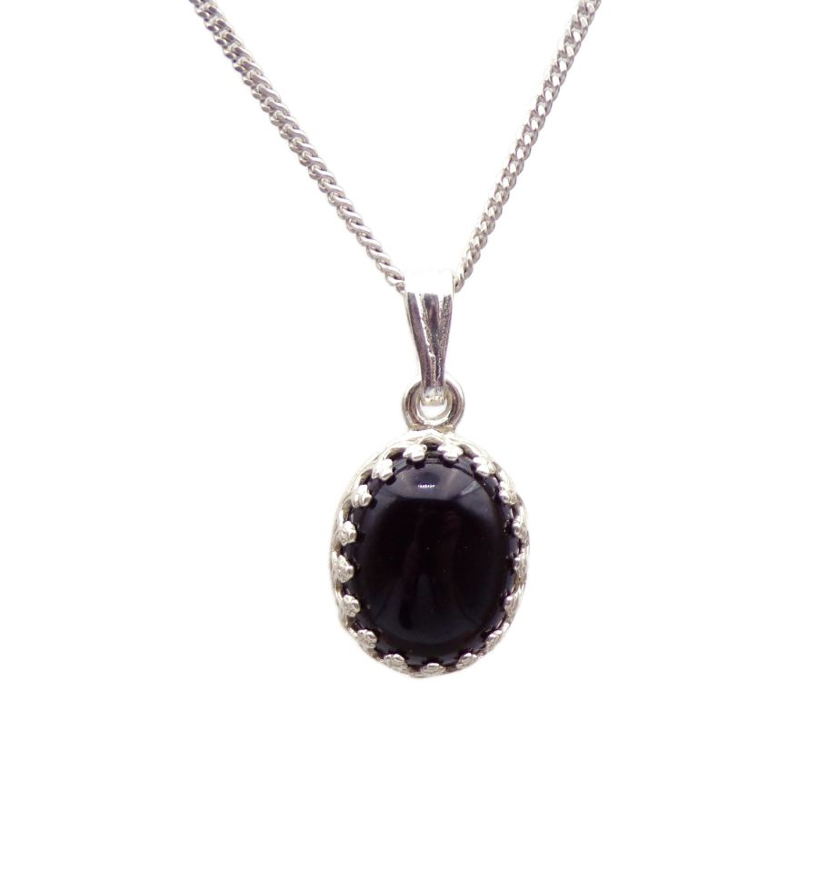 Black Onyx gallery decorative Pendant Necklace Oval design in Sterling silver