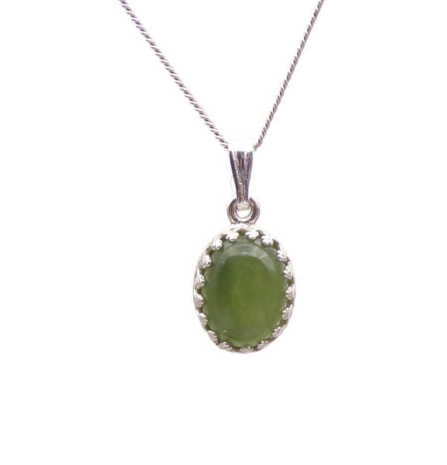 Jade gallery decorative Pendant Necklace Oval design in Sterling silver