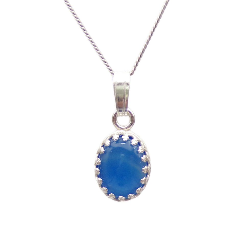 Blue Onyx gallery decorative Pendant Necklace Oval design in Sterling silver