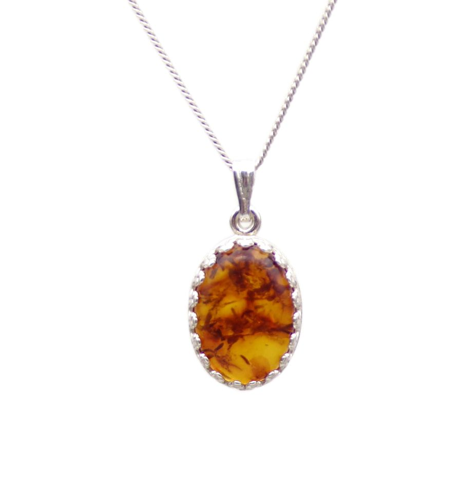 Amber Silver decorative Pendant Necklace Oval design in Sterling silver