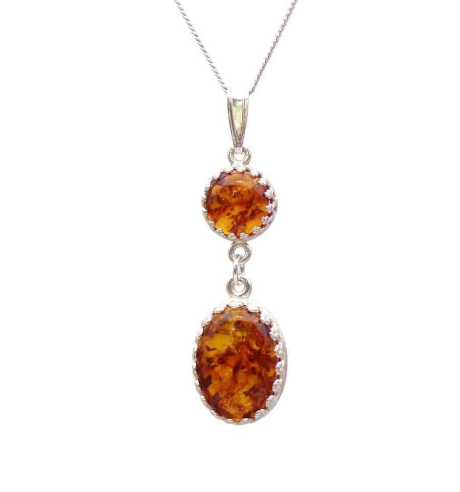 Amber matching decorative Pendant Necklace design in Sterling silver