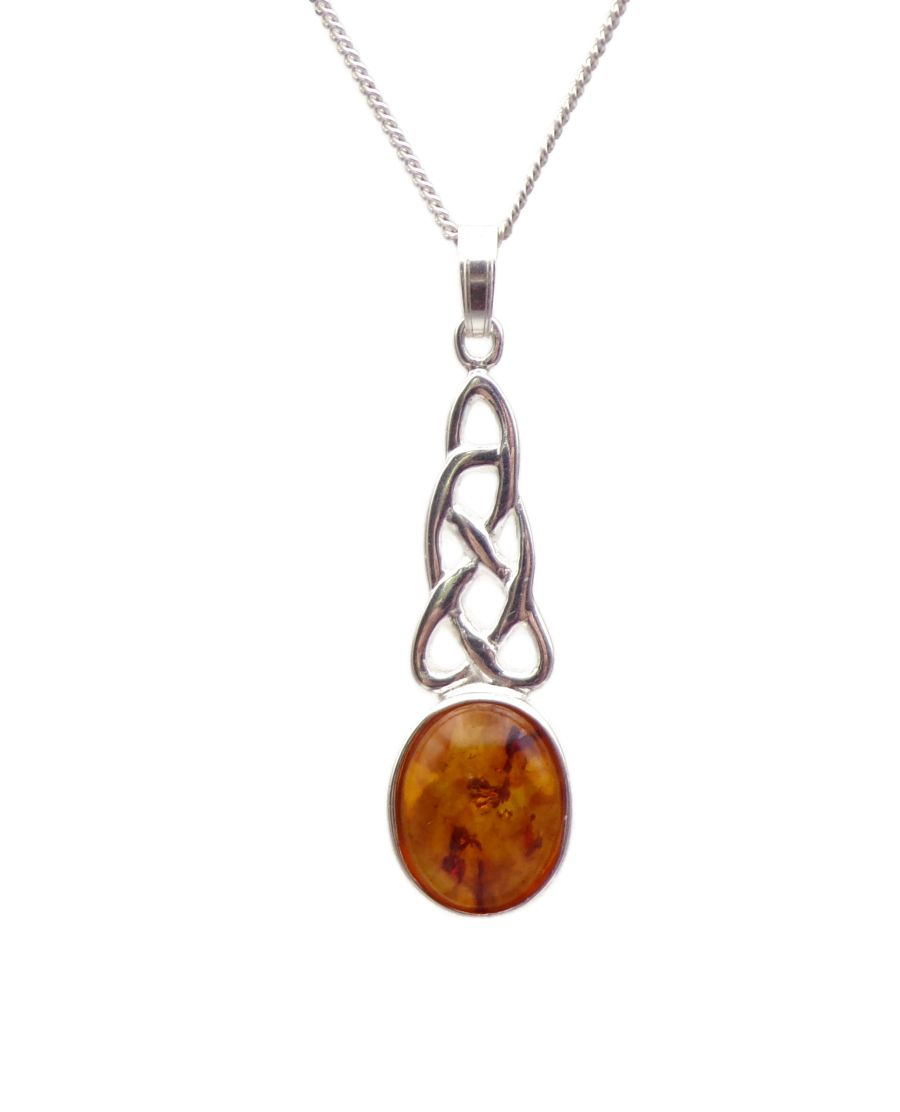 Celtic Amber Oval Sterling Silver Necklace Gemstone Pendant