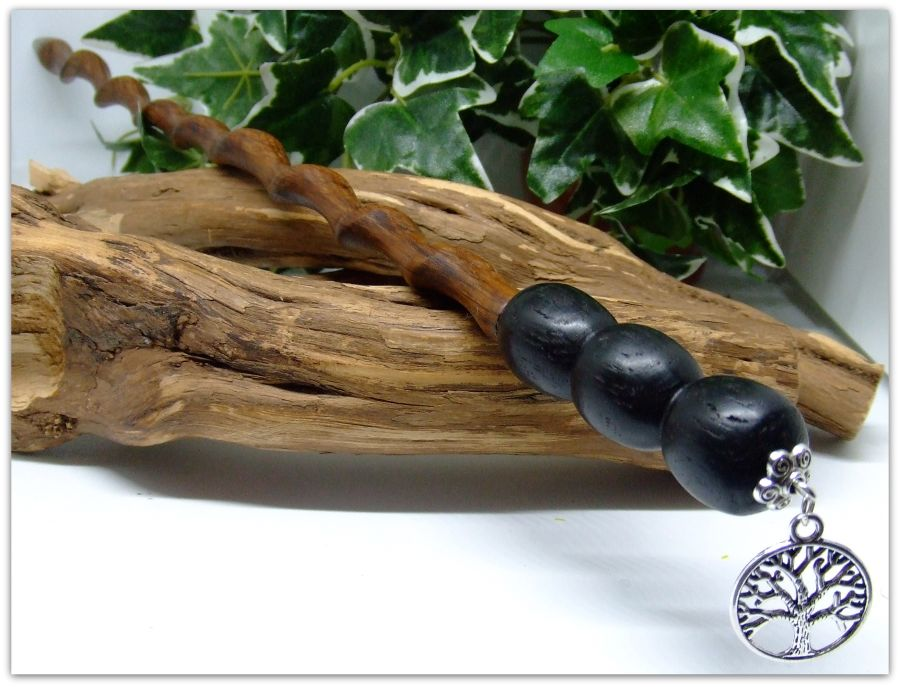 14.25 inch Ritual Spiral Wand Woodturned and Handcrafted in English Oak and English Bog Oak