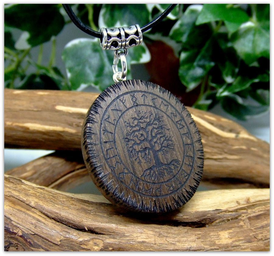 Yggdrasil Pendant Necklace in 5000 year old Irish Bog Oak wood Gift Icelandic