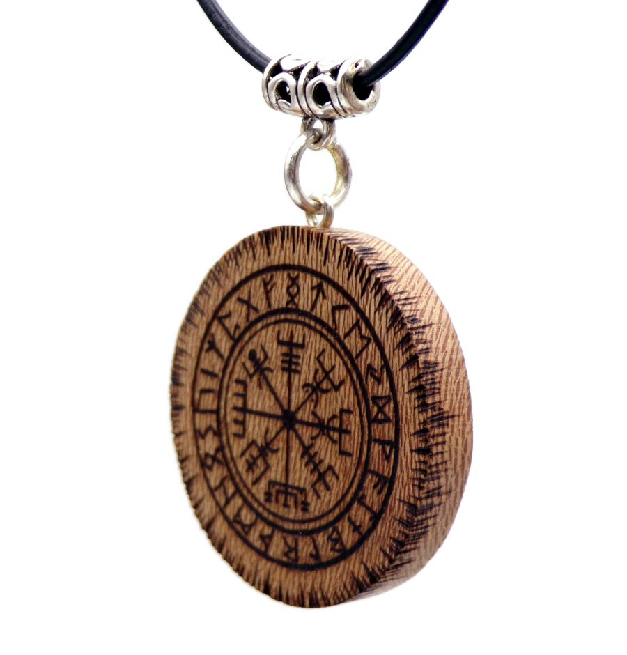 Vegvisir Pendant Necklace in London Plane wood Gift Icelandic