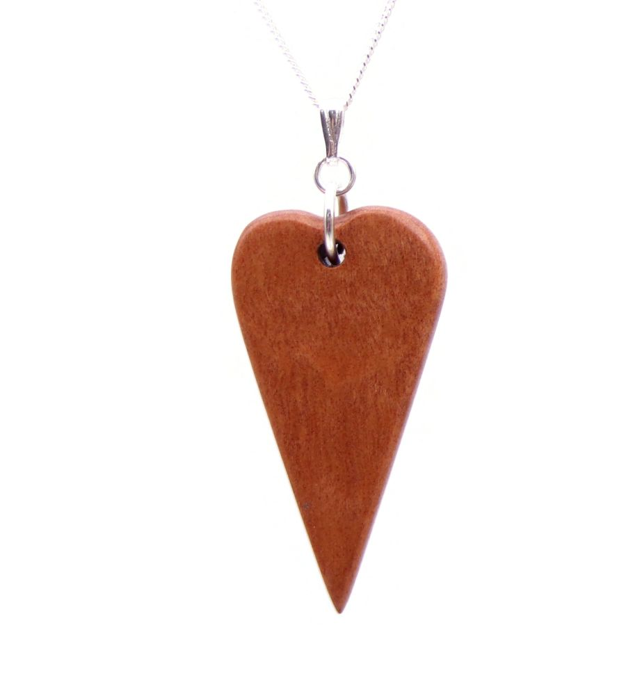 Heart Love Pendant Necklace Handcrafted in Pink Ivory Wood sterling silver chain