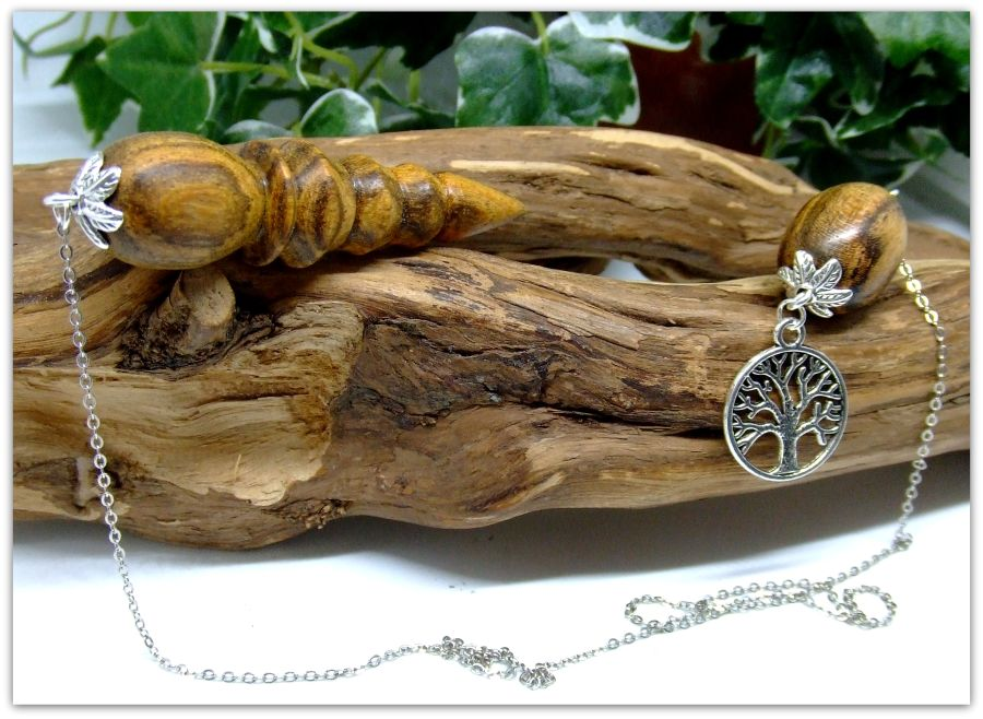 Wooden Pendulum handcrafted in Bocote wood with Tibetan Silver Tree of Life