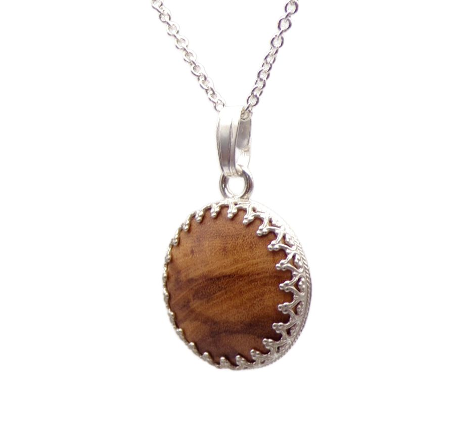 Sterling Silver decorative Pendant Necklace handcrafted in Spanish Olive Wood