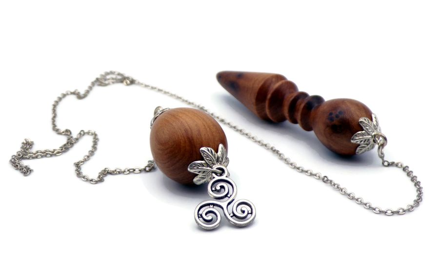 Wooden Pendulum in Boonaree wood with Tibetan Silver Triskelion