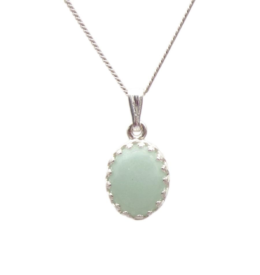 Amazonite gallery decorative Pendant Necklace Oval design in Sterling silver
