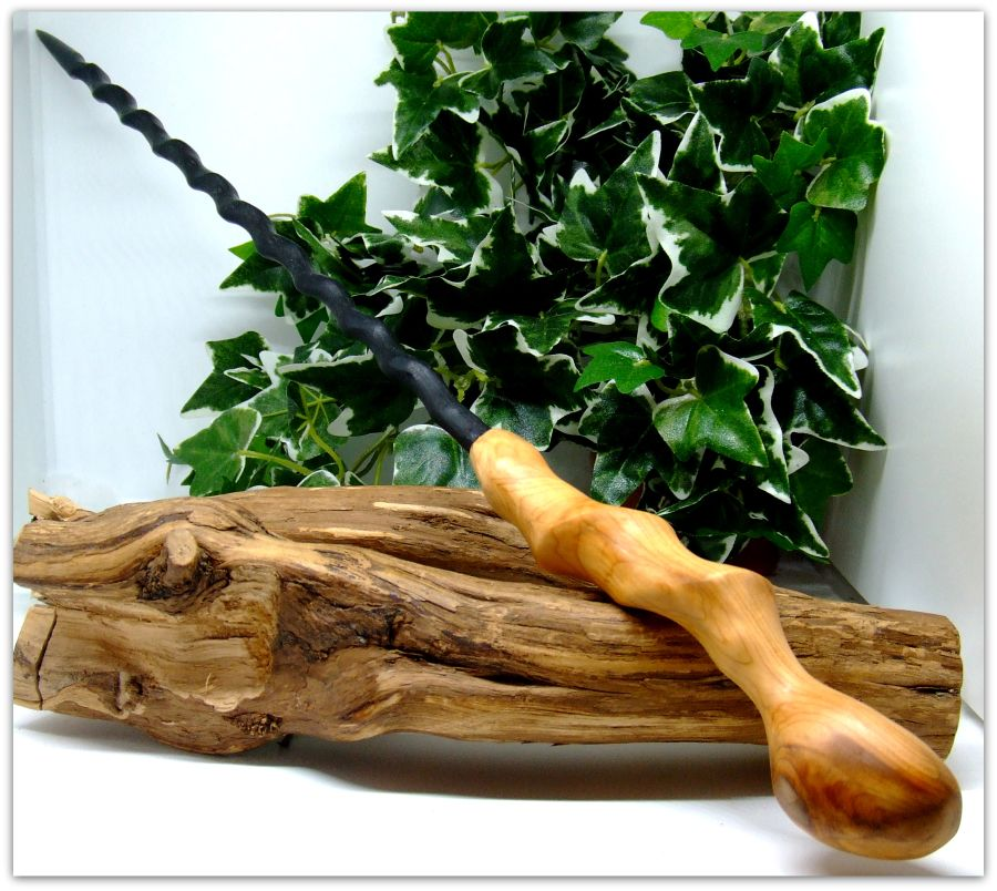17 inch Wooden Spiral Ritual Wand handcrafted in 3000 year old English Bog Oak Wood and Yew wood