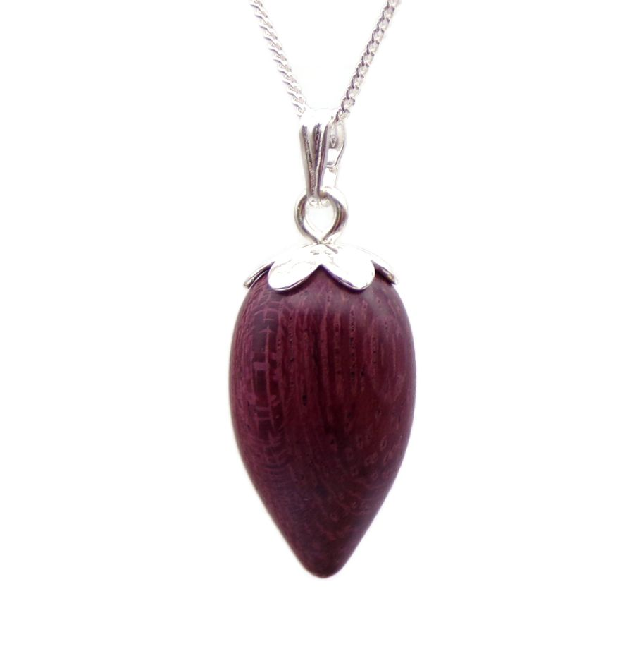 Acorn design Pendant Necklace Handcrafted in Purple heart wood Sterling Silver top and chain