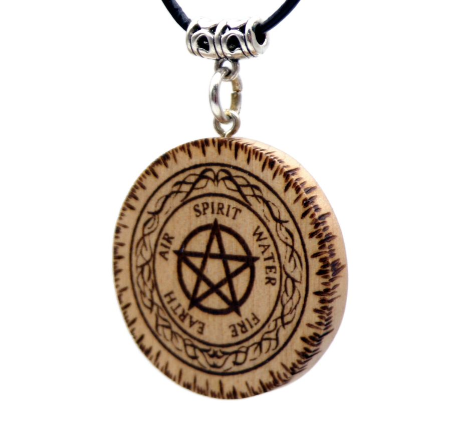Pentagram 5 Elements Pendant Necklace in Maple wood Leather cord Gift boxed Pagan