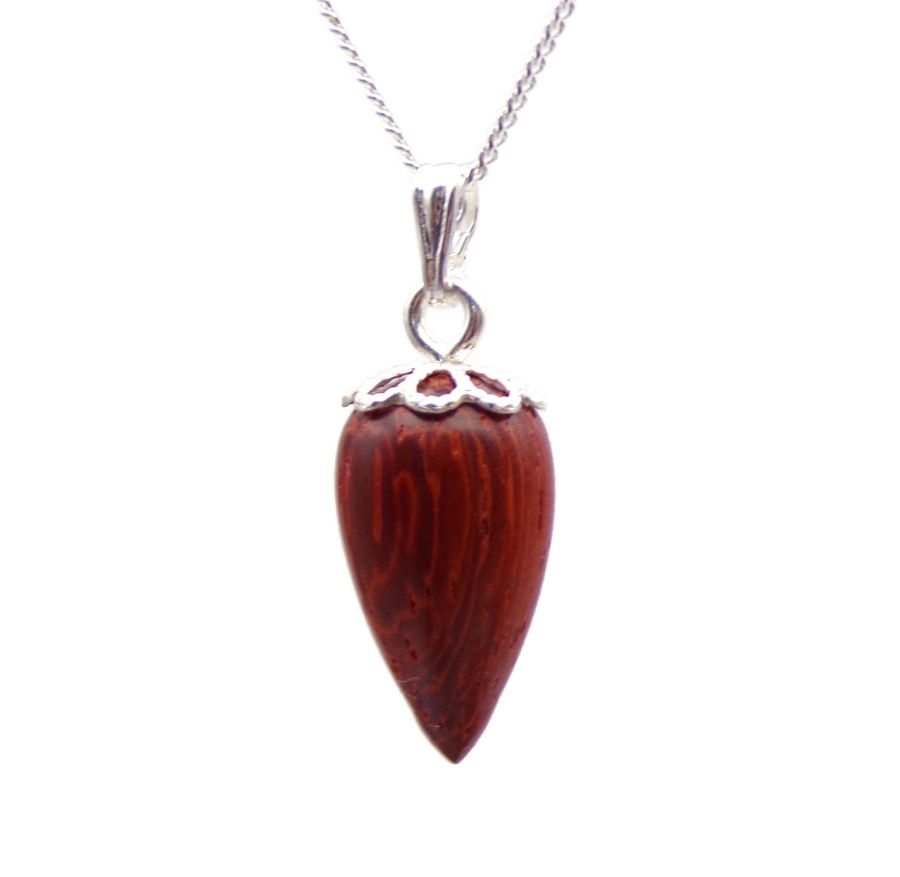 Acorn design Pendant Necklace Handcrafted in African Padauk wood Sterling Silver