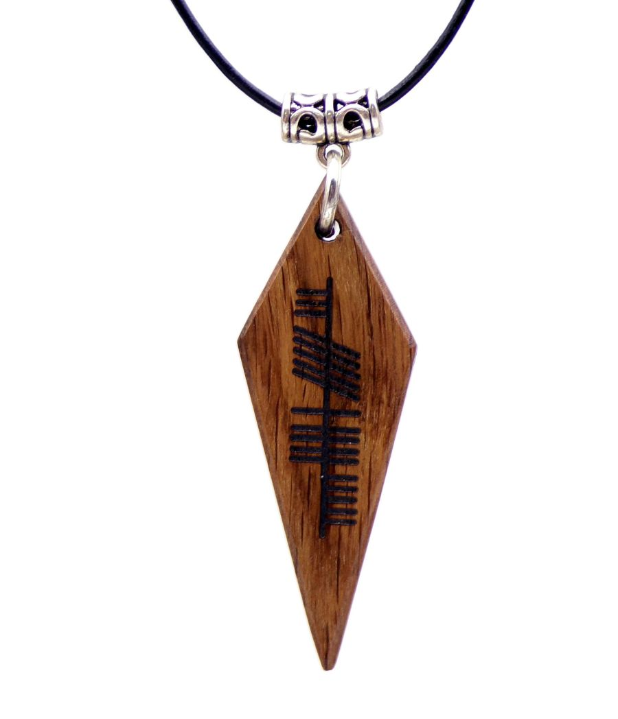 Ogham Neart Strength Arrowhead Pendant Necklace handcrafted from 5000 year old Irish Bog Oak