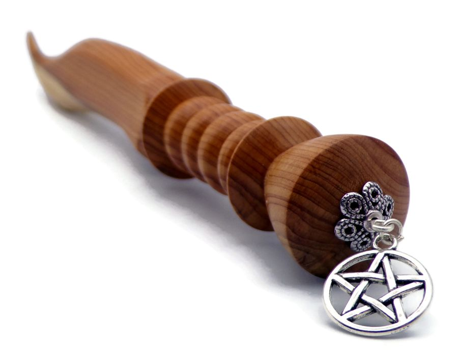 8.25 inch Ritual Athame in English Yew wood Silver Pentagram
