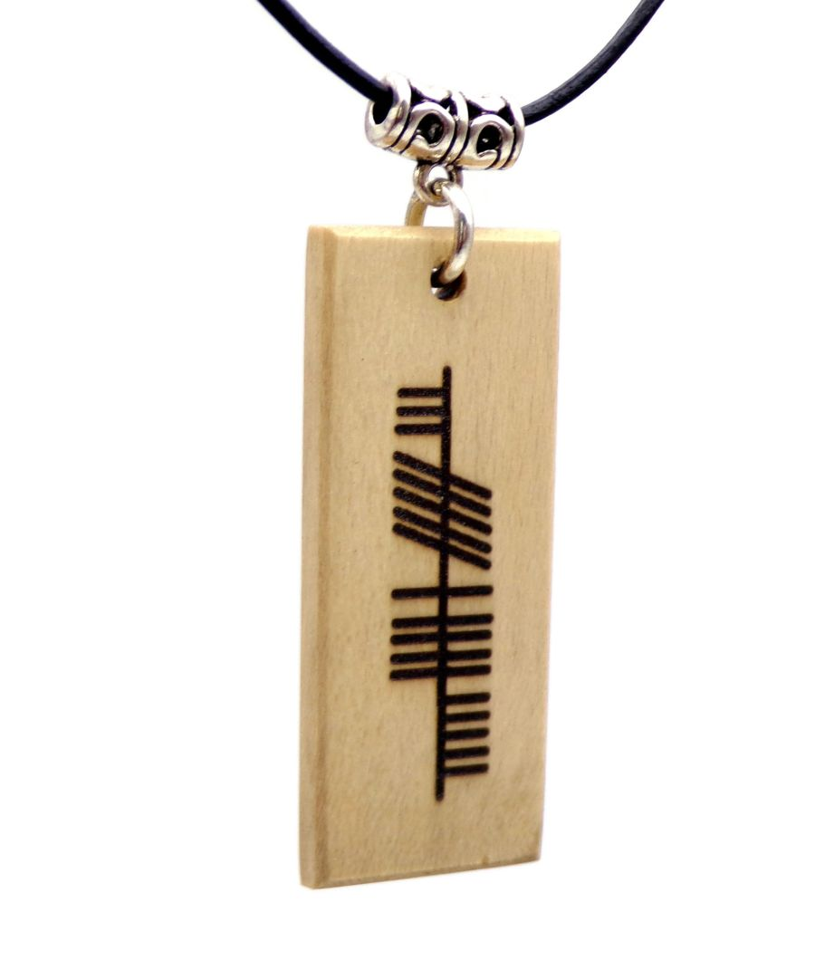 Ogham Neart Strength Rectangular Pendant Necklace handcrafted in Holly Wood