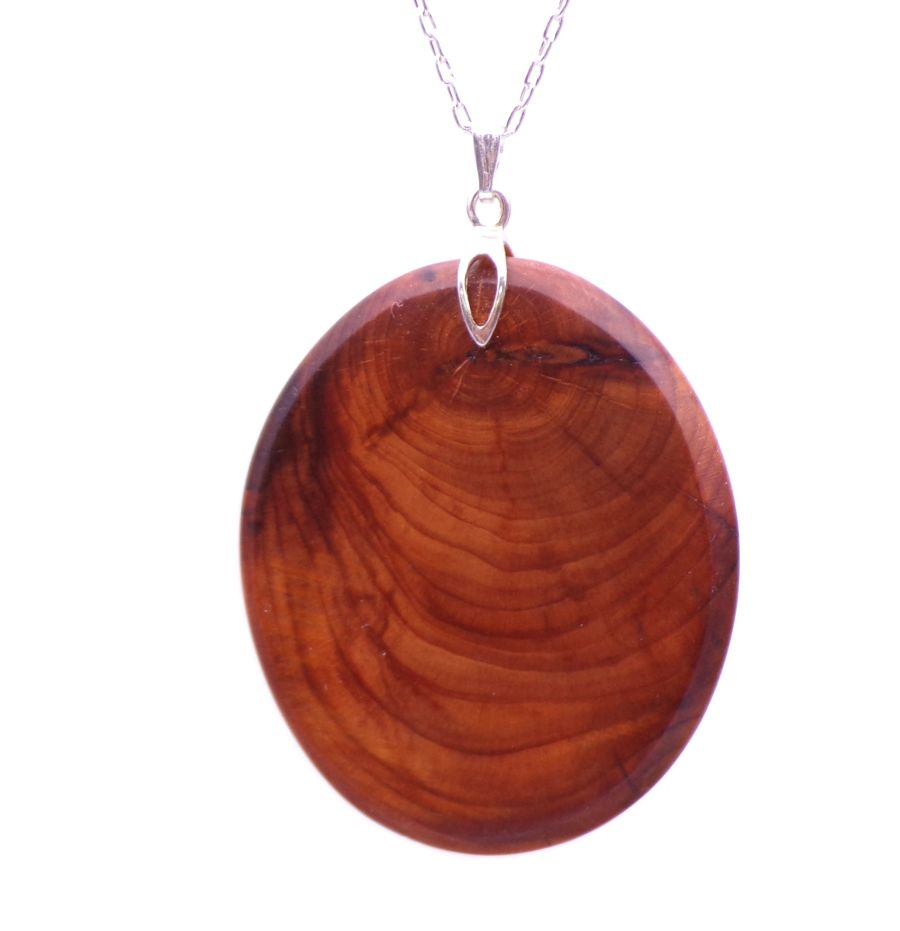 Oval Pendant Necklace Handcrafted in English Yew Wood