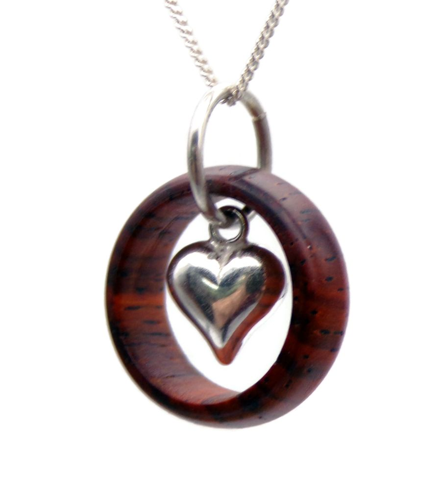 Sterling Silver Heart Ring Pendant Necklace hand crafted in Cocobolo wood
