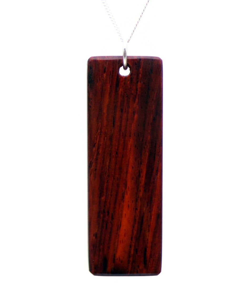 Rectangular Ingot Pendant Necklace hand crafted in Cocobolo wood
