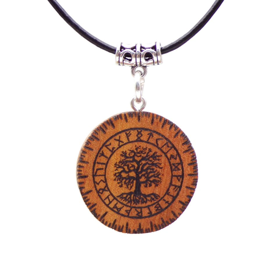 Yggdrasil Pendant Necklace in Pink Ivory wood Gift Icelandic Wooden Norse Protection