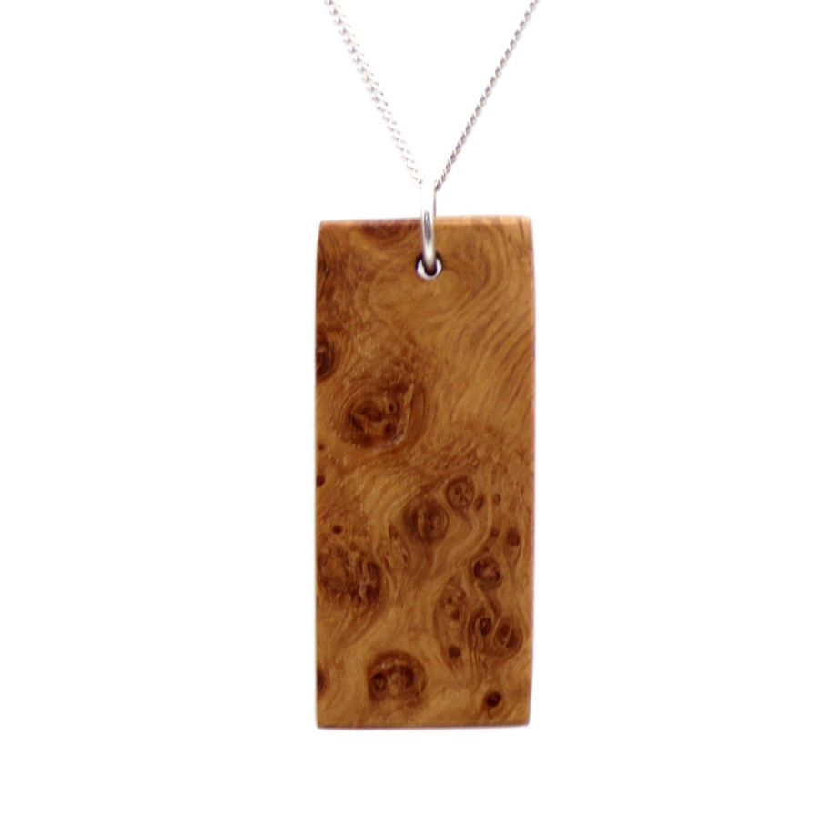 Rectangular Ingot Pendant Necklace hand crafted in English Burr Oak wood