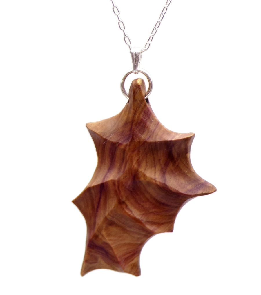 Leaf design Pendant Necklace handcrafted in English Lilac Wood