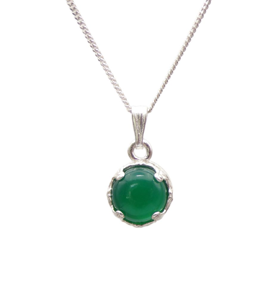 Green Agate Silver round decorative Pendant Necklace in Sterling silver 18