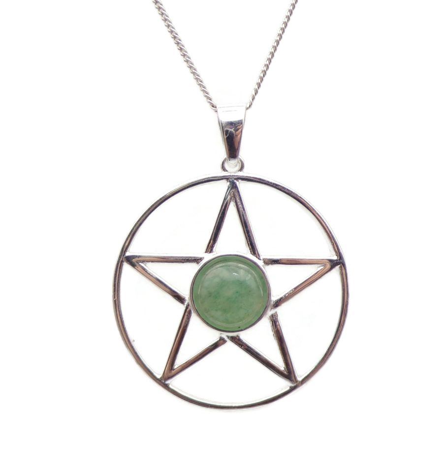 Pentagram Aventurine Sterling Silver Necklace Gemstone Pendant
